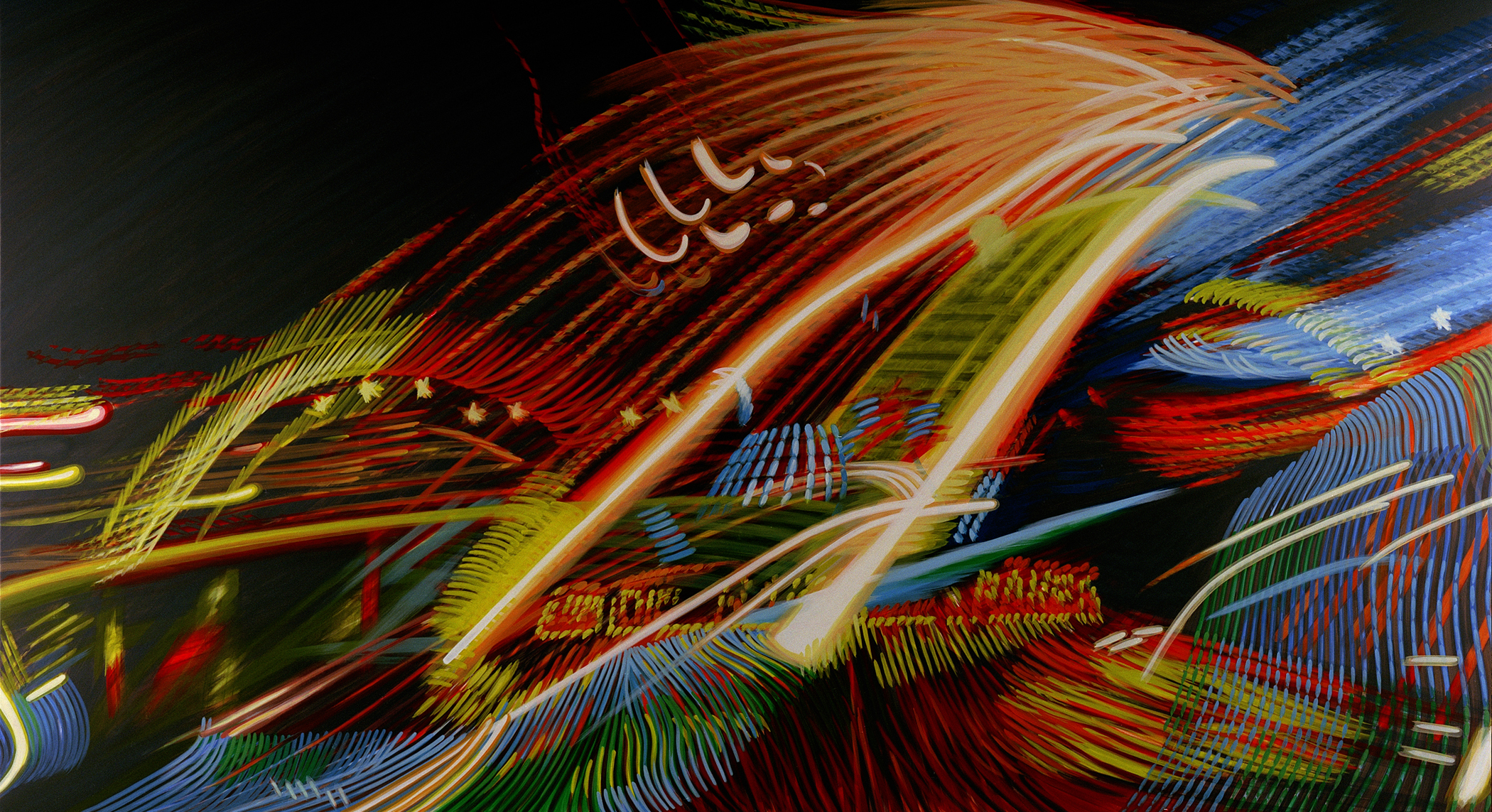 Wild Ride V 2011 acrylic on canvas on board 72x132in