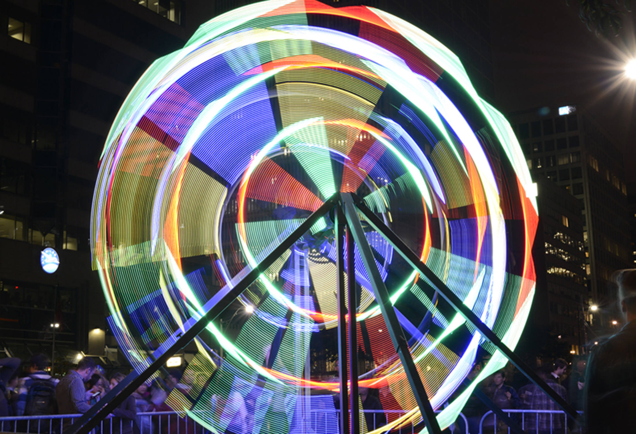Ferris Wheel 2013 welded steel, concrete ballast, LED lights, 17x21x22ft (University Ave, Toronto) Scotiabank Nuit Blanche (photo by John Richardson, courtesy of CCCA) spinning