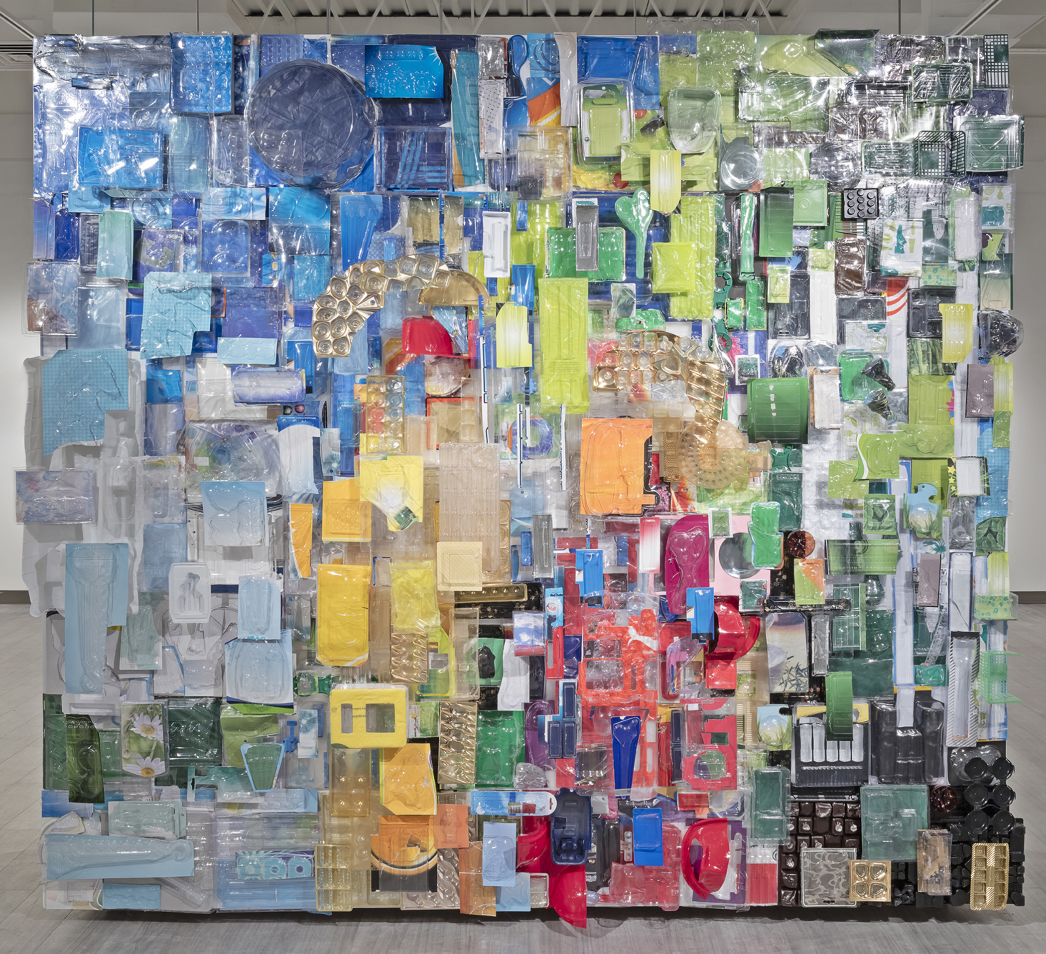 Lake of Bays 2013-2015 recycled vacuum form packaging 87x96in photo by Toni Hafkenscheid