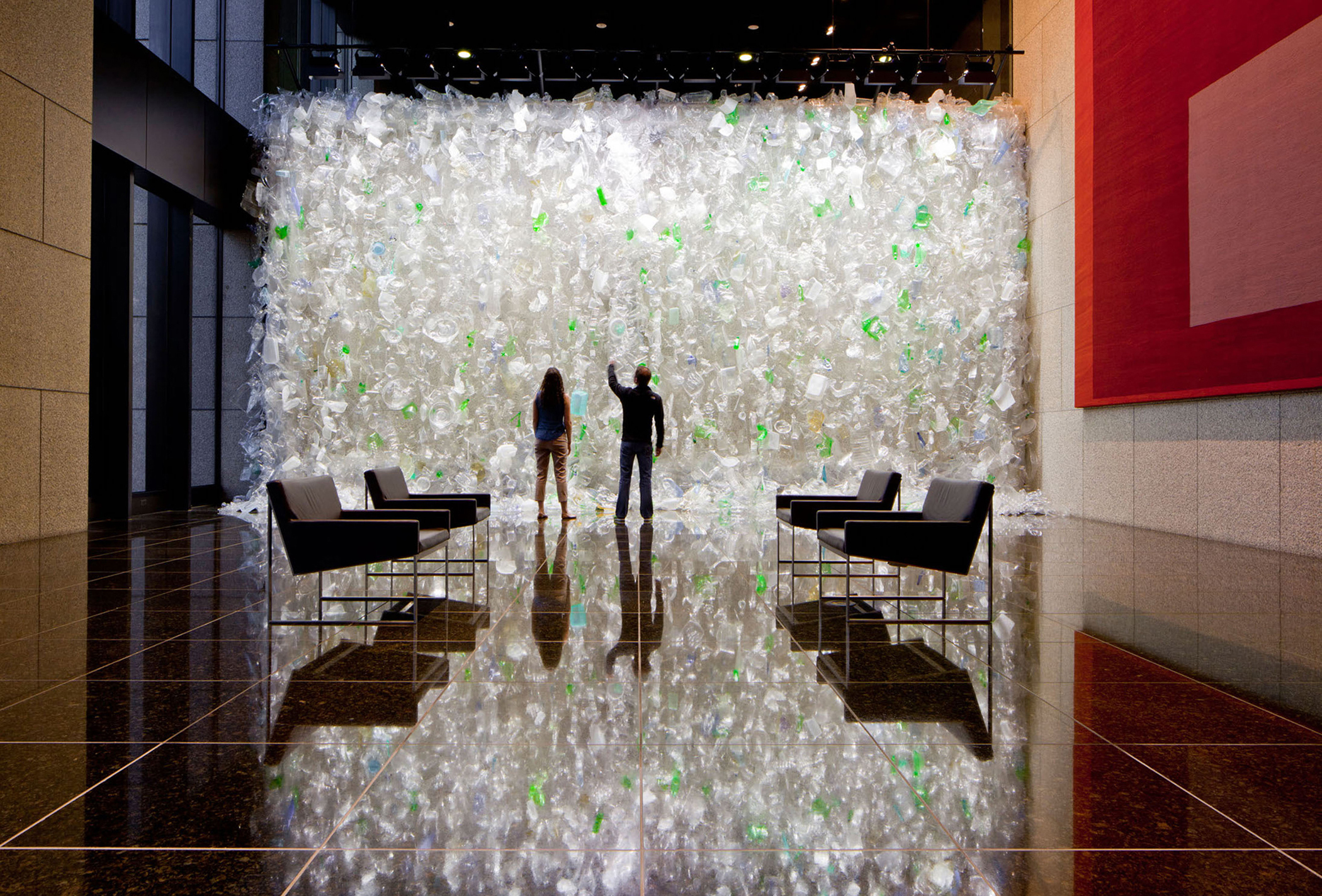 Waterfall 2013 recycled plastic, monofilament 18x34x2ft (Bank of America, Los Angeles) art installation commissioned by Brookfield Properties photo by Charles LeNoir