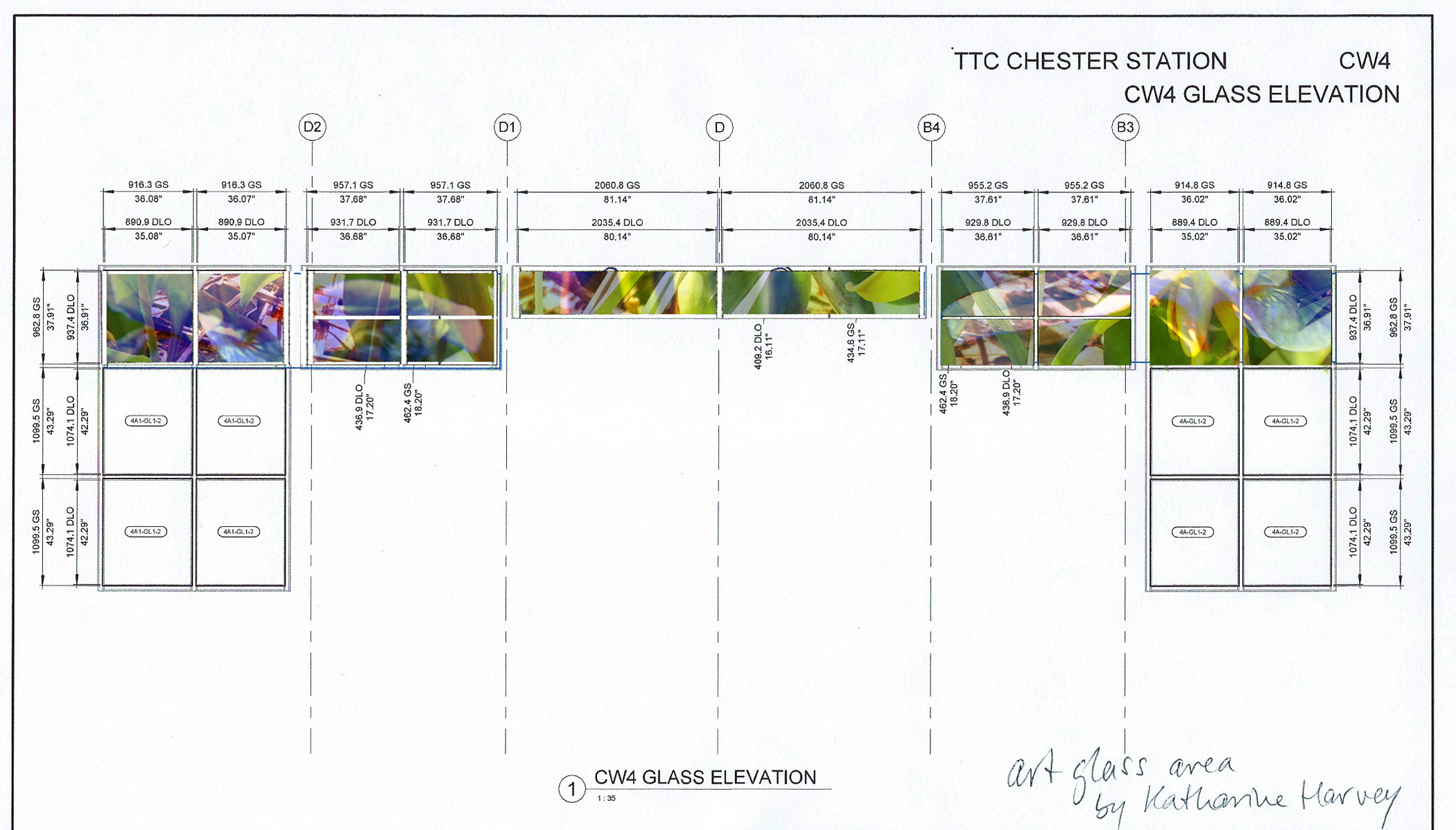 Chester Subway 2020 artist's mockup of final glass sizes for entrance to station