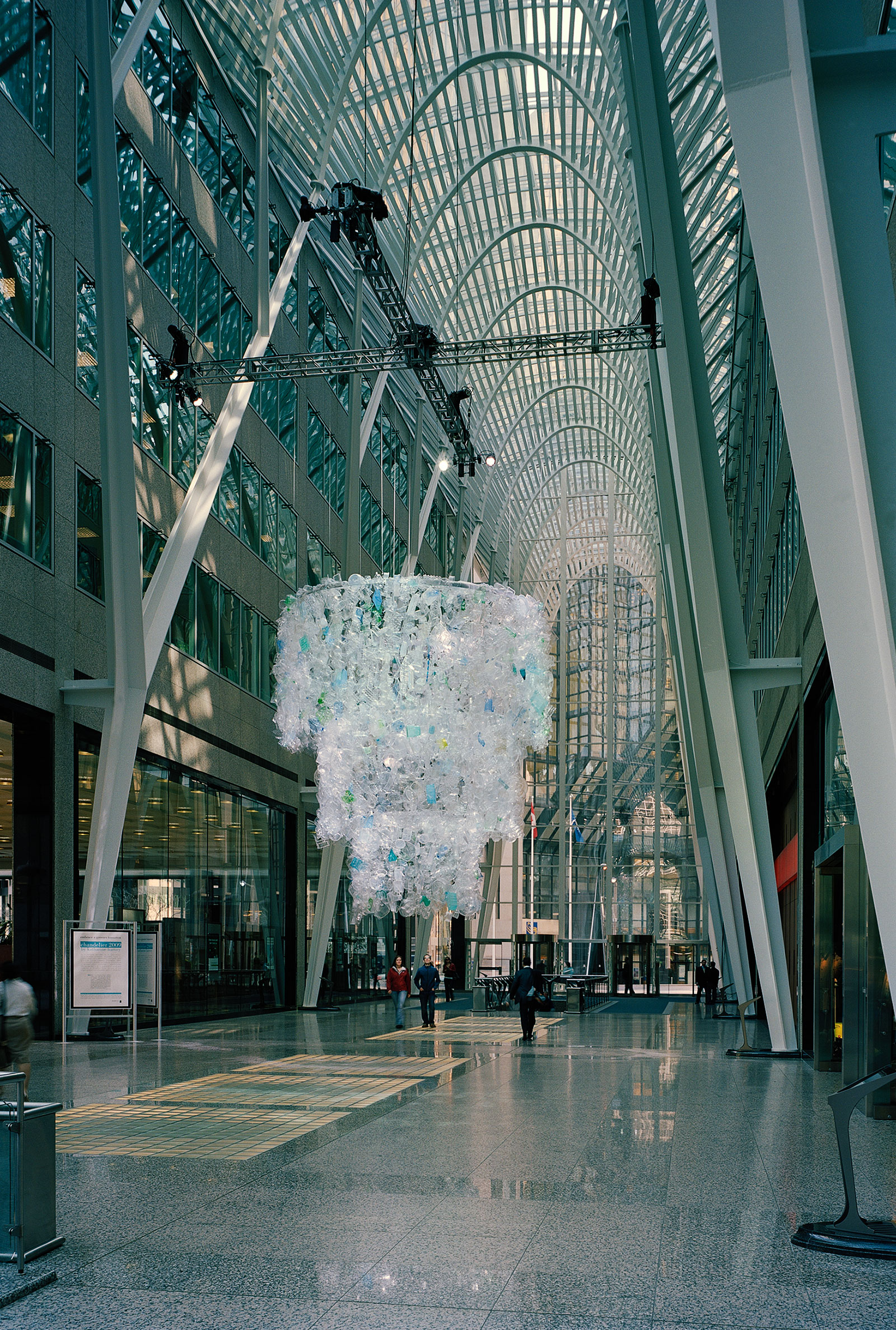 Chandelier 2009 recycled plastic, aluminum hoops, monofilament (Brookfield Place, Toronto) commissioned by Brookfield Properties photo by Peter MacCallum