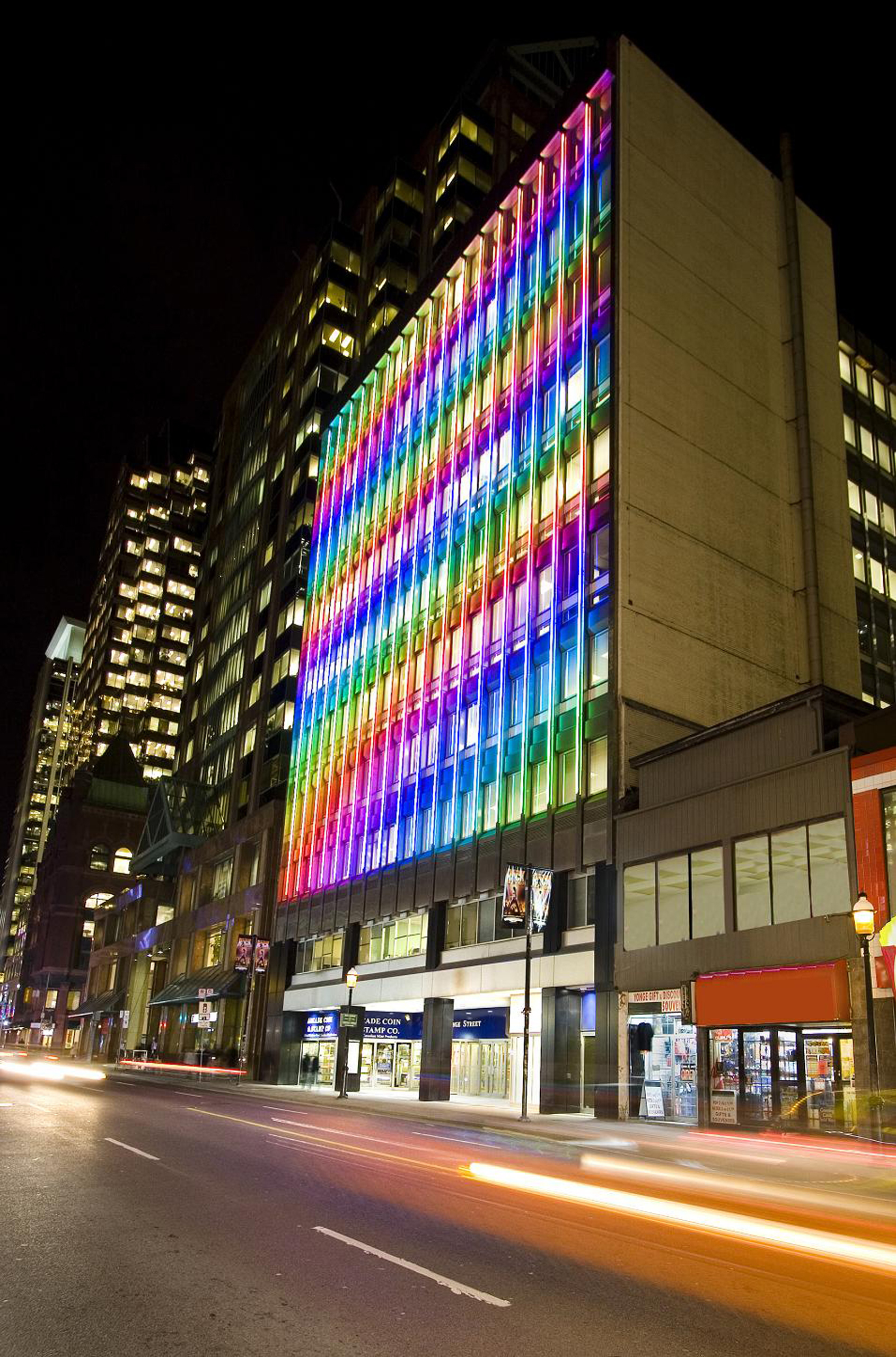 Waterfall Light Show 2011 Colour Kinetics LED display 88x76ft (137 Yonge Street, Toronto)