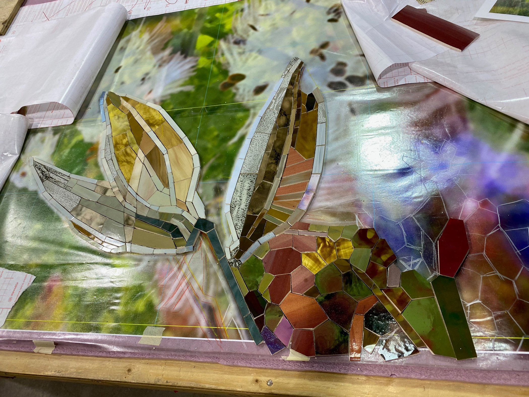 Chester Subway 2020 Florae (milkweed closeup) mosaics in progress © Mosaika Art Mosaic Fabricator