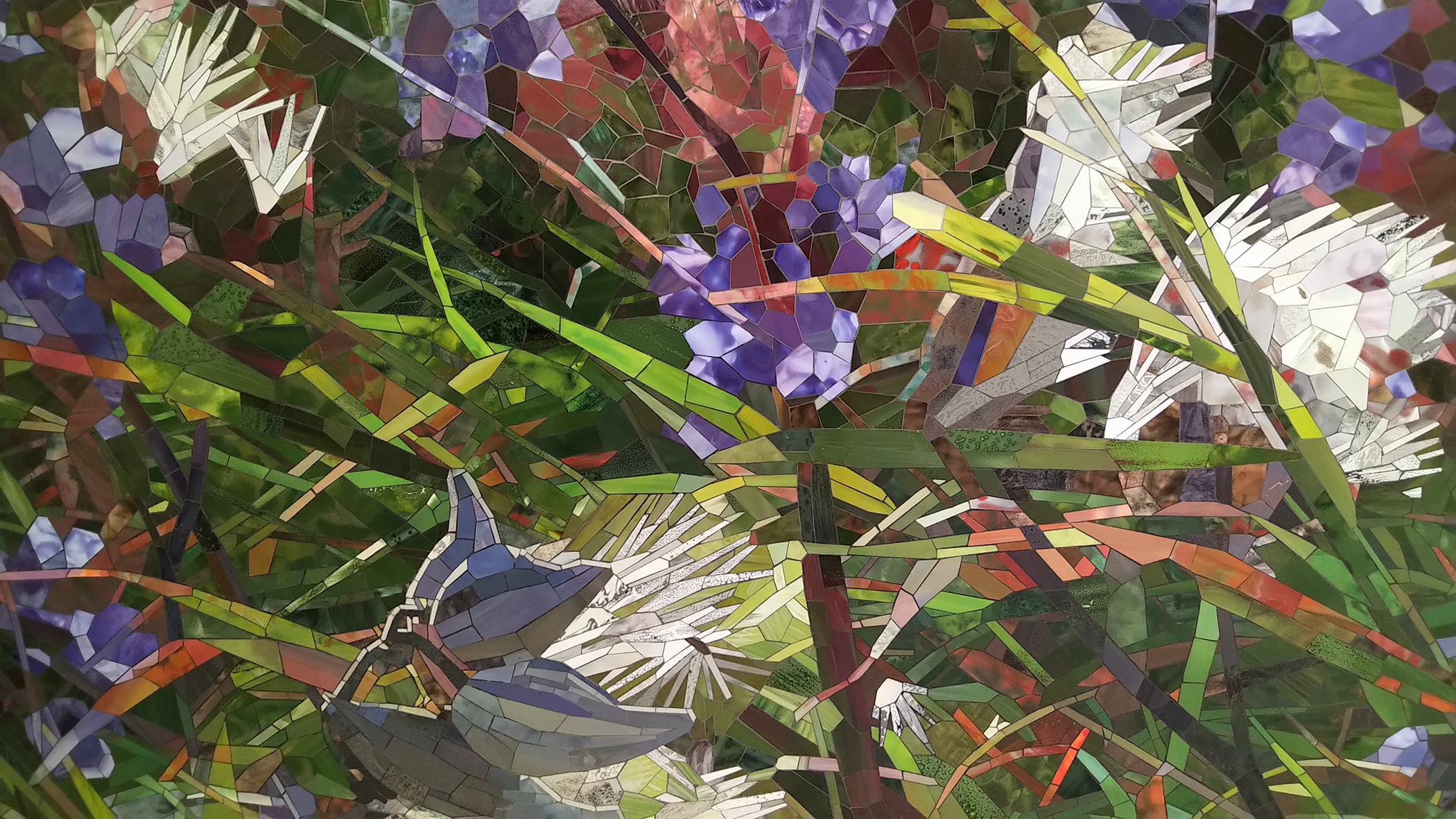 Milkweed Verbena detail 1 2020 ceramic mosaic 8x14ft by Contemporary Canadian Artist Katharine Harvey
