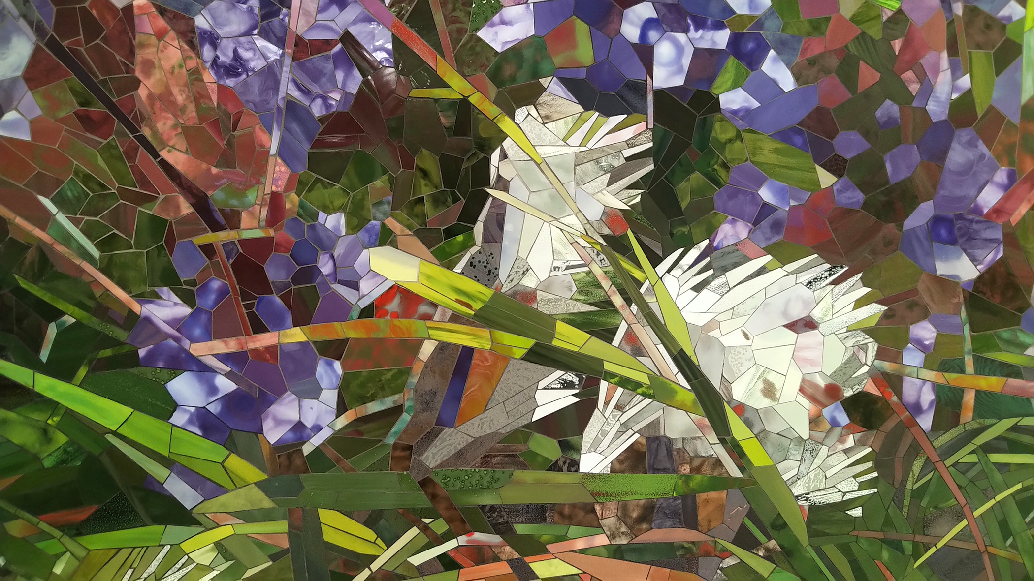 Milkweed Verbena detail 2 2020 ceramic mosaic 8x14ft by contemporary Canadian Artist Katharine Harvey