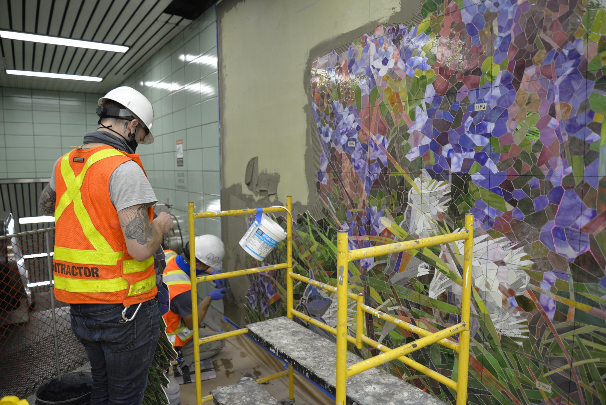 Milkweed Verbena mosaic in progress 2 Sept 2020