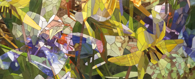 Trout Lily Blue Flag Iris detail 1 2020 ceramic mosaic 8x14ft by Contemporary Canadian Artist Katharine Harvey