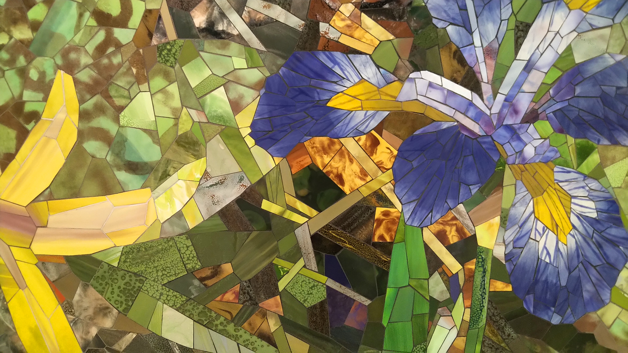 Trout Lily Blue Flag Iris detail 2 2020 ceramic mosaic 8x14ft by Contemporary Canadian Artist Katharine Harvey